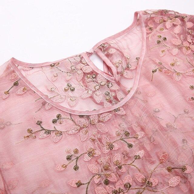 ZUOMAN New Spring Plus Size 4xl Dress Summer Female Silk Dress Female Embroidery Long Vestidos Robes Plus 3