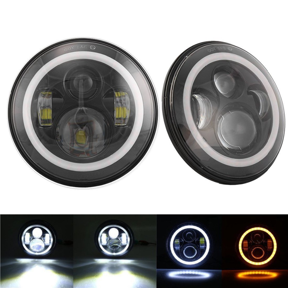 Pair 7inch Round LED Halo Projector Headlights with DRL/Turn Signal for Land Rover Defender <font><b>90</b></font> and 11 for Hummer H1 H2 '03-'09 image