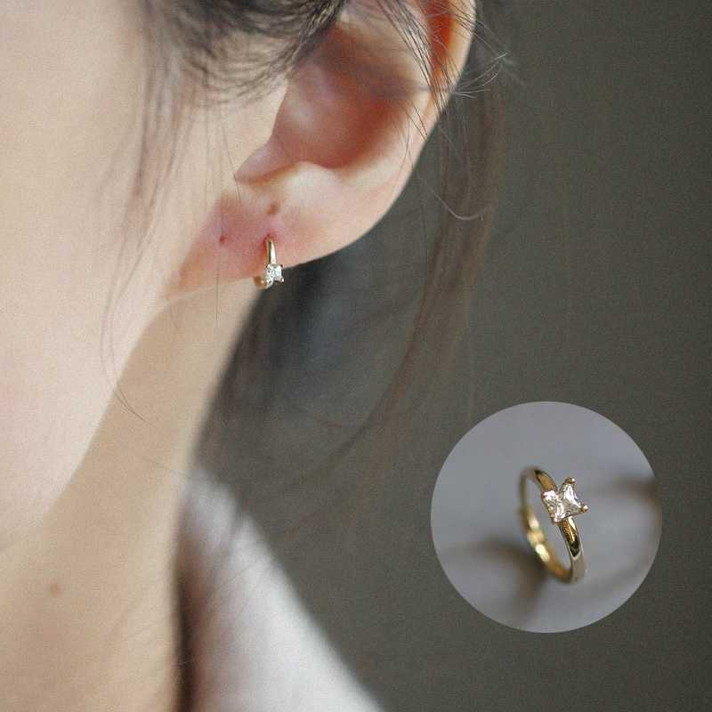 Custom Mini Diamond Earrings Pure 9k Gold Zircon Temperament Simple Earrings Japanese And Korean Earrings Hoop Earrings Aliexpress