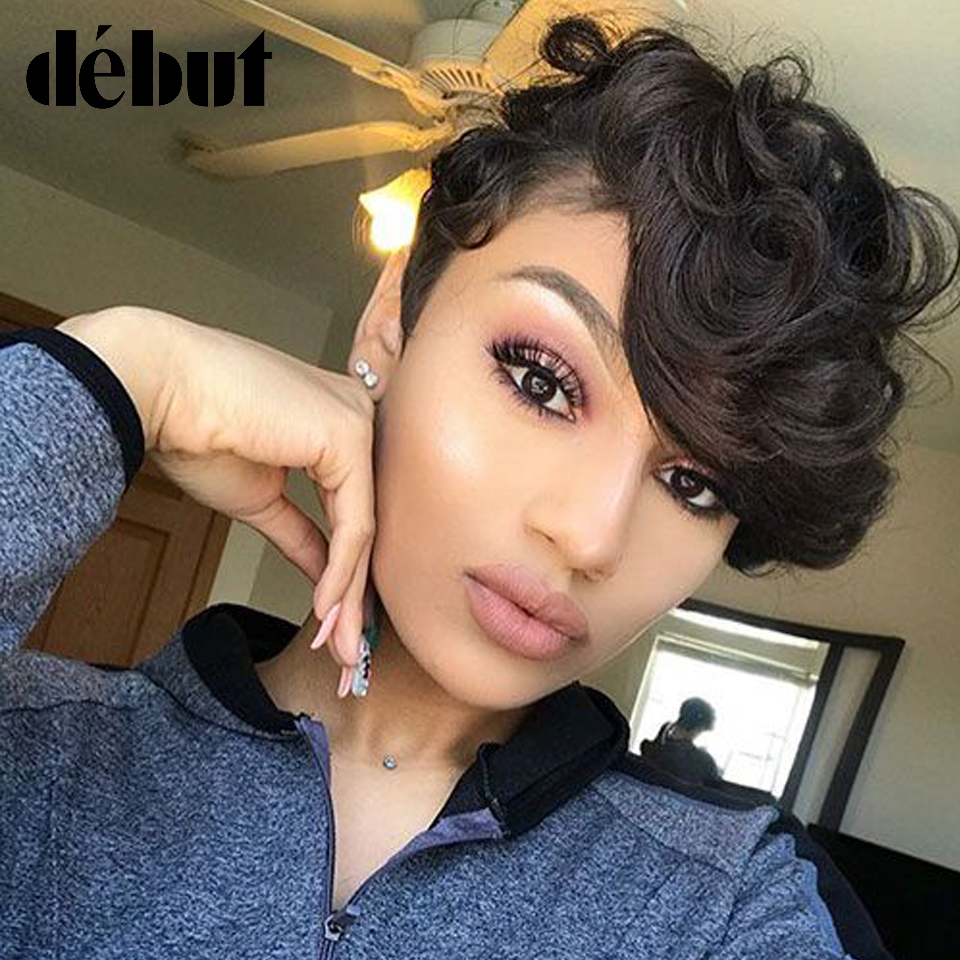 Debut Short Human Hair Wigs With Bangs Fantasy Wave Wavy Curly Human Hair Wig Remy Human Wigs For Black Women Free Shipping