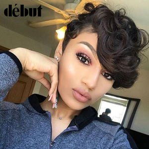 Debut Wigs Bangs Short Human-Hair Curly Black Women Remy with Fantasy-Wave Wavy