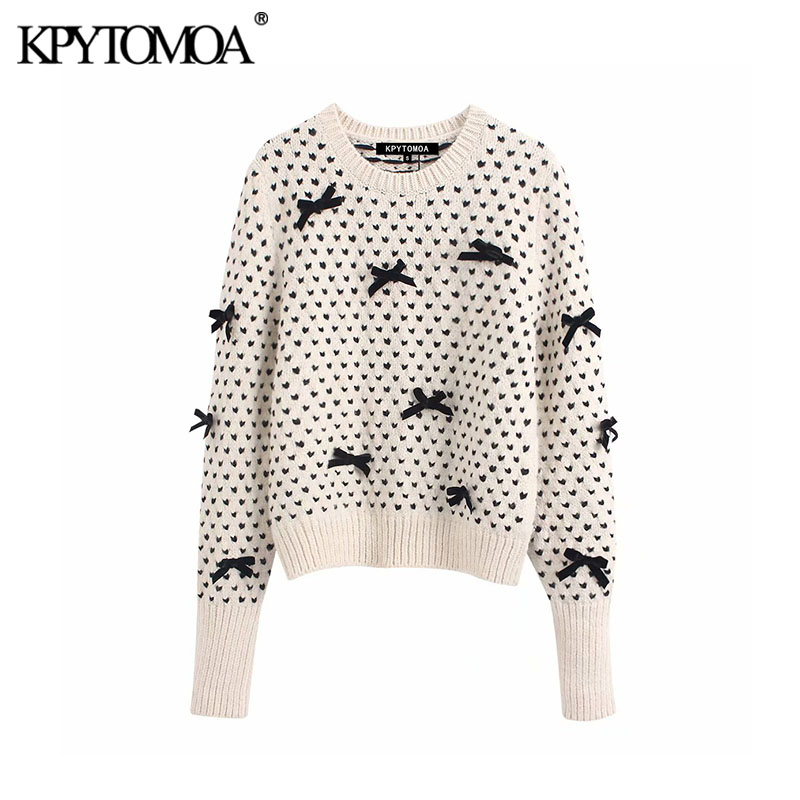 Vintage Sweet Bow Tie Appliques Knitted Sweater Women 2020 Fashion O Neck Long Sleeve Ribbed Trim Female Pullovers Chic Tops