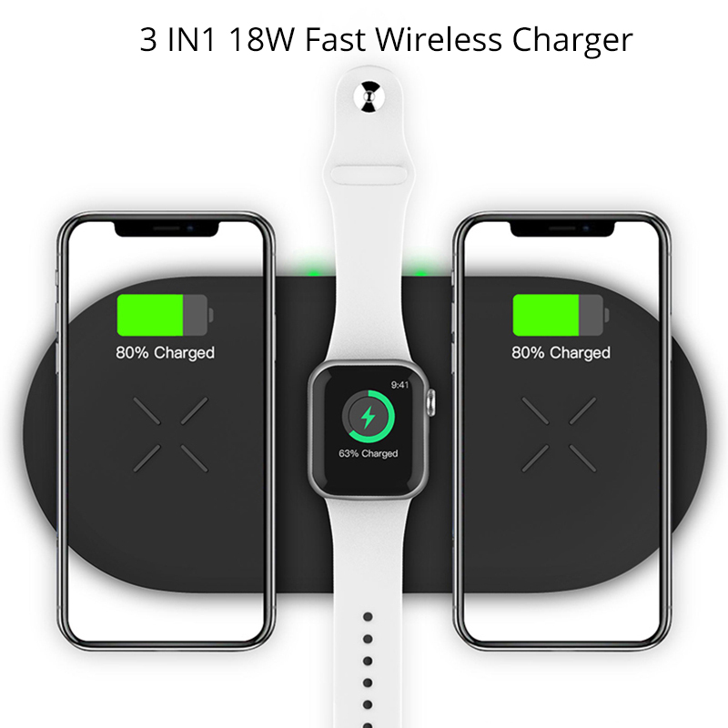 Bonola 3 In1 Wireless Charging Pad For iPhone 11Pro11XRXsMax Charger Dock For Apple Watch 5 Wireless Charger For AirPods Pro (1)