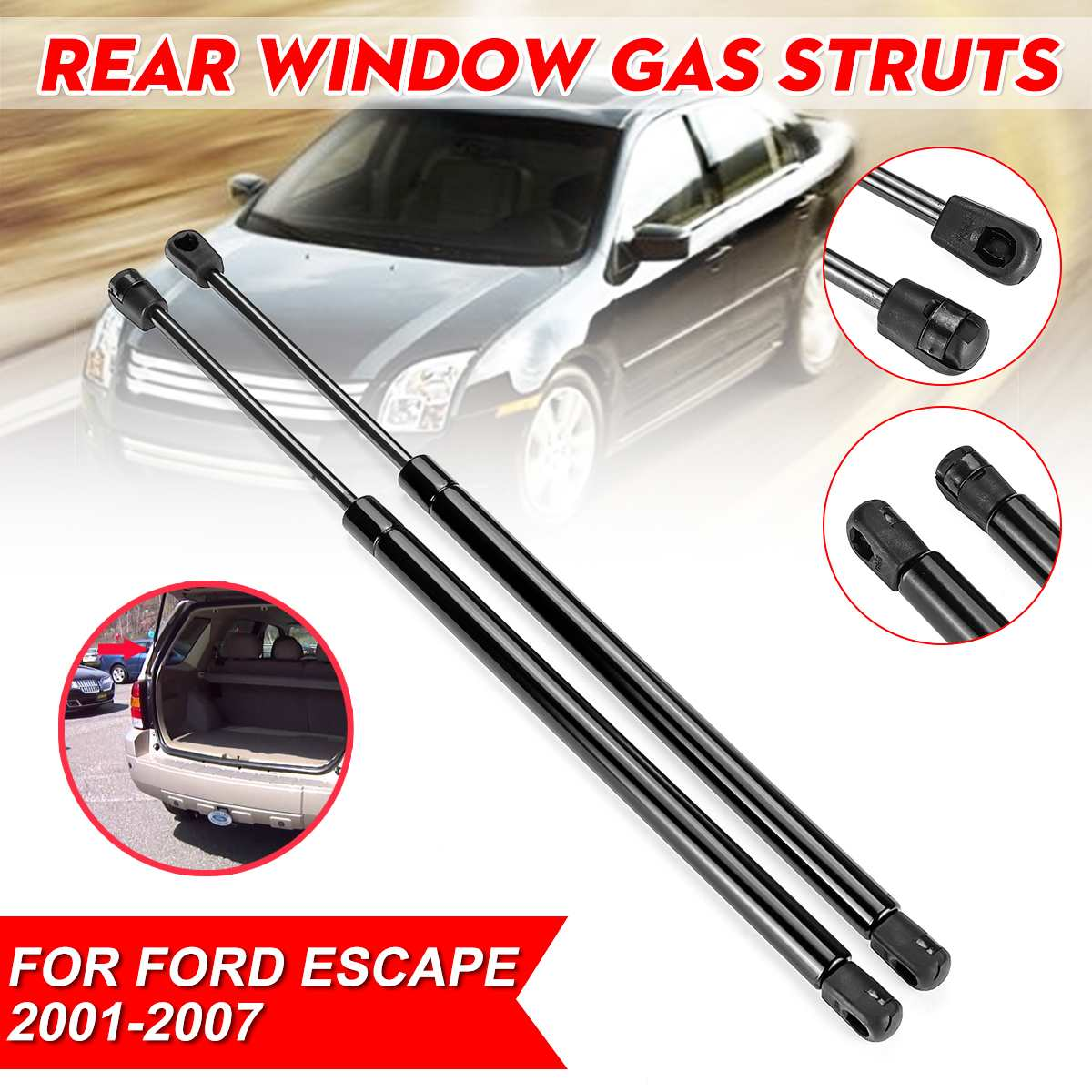 2 Rear Tailgate Lift Supports Gas Struts Springs For 2005-2007 Ford Focus