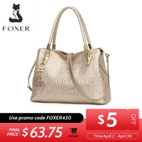 FOXER Women's Split Cow Leather Shoulder Bag Crossbody Bags Female Fashion Totes Handbag All match Top handle Bag Purse 962061F