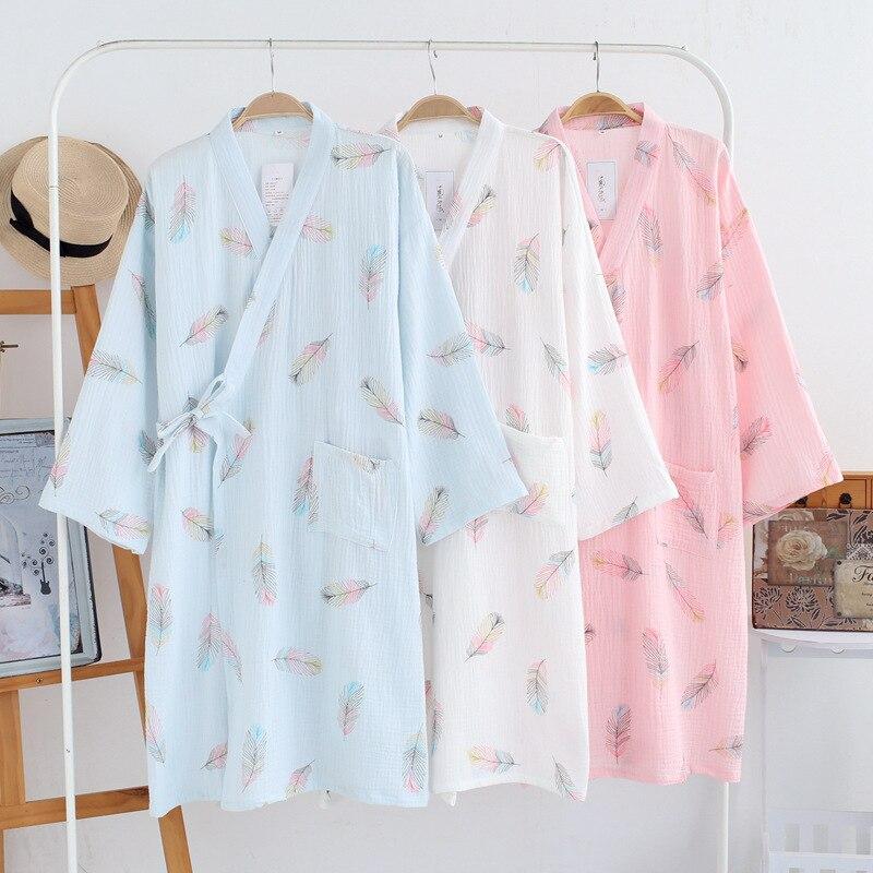 Japanese Kimono Full Cotton Long Robe Cardigan Kimonos Traditional Women Yukata Small Fresh Nightgown Leisure Wear Homewear New