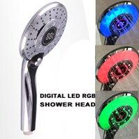 Digital LED Shower Head 3 color Temperature Controlled Handheld LED Light 3 Spraying Mode RGB LED Bath Shower