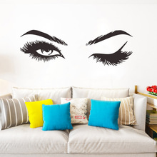 Sexy beauty blinking eyes closed beautiful eyelash wall stickers bedroom living room girl room decoration wall stickers