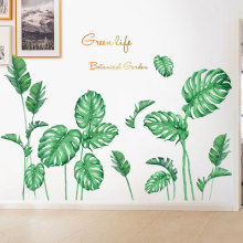 Removable Green Leaves Wall Stickers for Living room Bedroom Kitchen Vinyl Wall Decals Plants Baseboard Wall Murals Home Decor plants wall stickers green leaves wall decals wall paper diy vinyl murals for bedroom living room kids room wall decoration