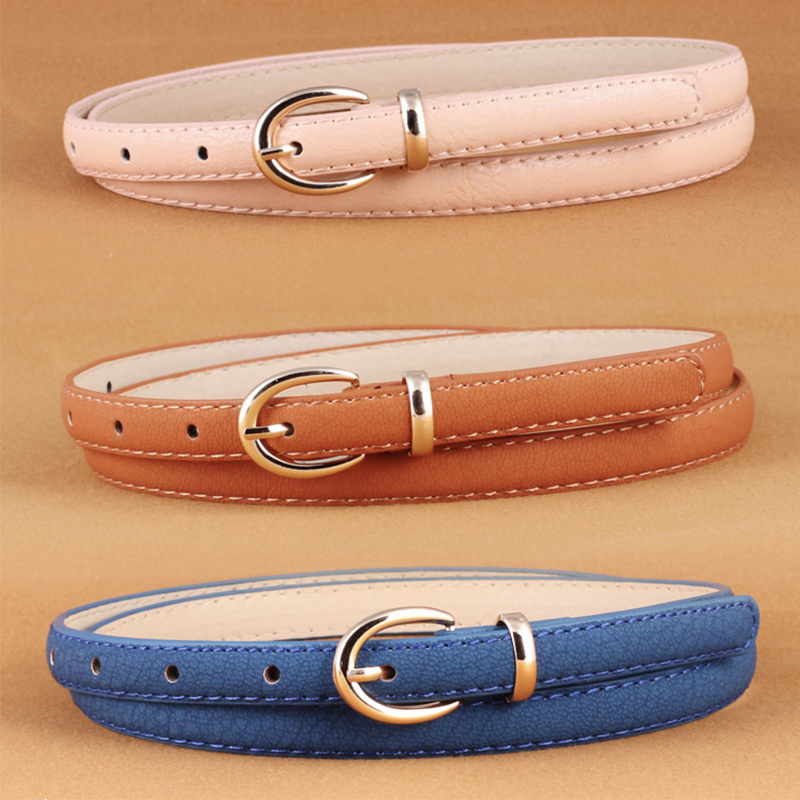 Korean Leather Kids Belts For Women Fashion Black Red Girls Woman Belt Jeans Pin Buckle Waist Thin Cinturon Mujer Accesories