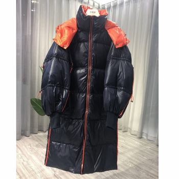 пуховик женский reebok down long jacket цвет бежевый dh1299 размер m 48 Super Warm Women's Medium And Long Loose Waist Casual Style Down Jacket  пуховик женский зимний