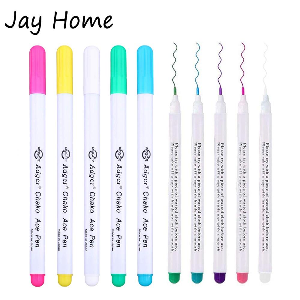 1/6 pces tinta que desaparece caneta marcador de tecido diy ponto cruz caneta apagável de água costurando alfaiate caneta para estofando ferramentas de costura
