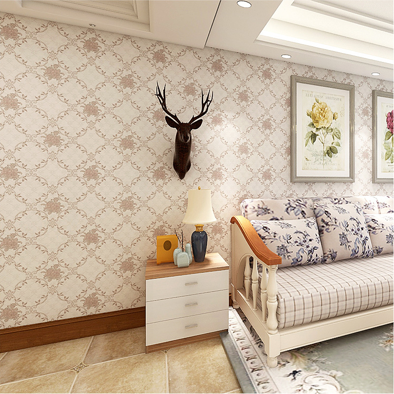 Seamless Wall Cloth Jacquard European Style Living Room Bedroom Home Improvement Hotel High-End Nonwoven Fabric Wall Covering Fa