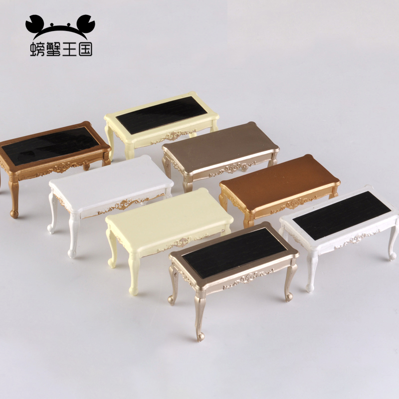 European Style Palace Table Model Interior Furniture Dining Table Dollhouse Mini Furniture Miniature Doll Accessories