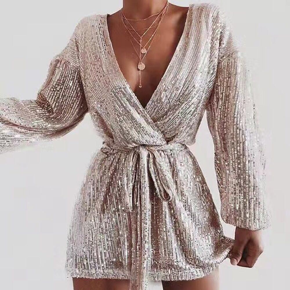BacklakeGrils New Sexy V Neck Sequined Gloden Mini Cocktail Dress Long Sleeve With Sashes 2020 Robe Cocktail Grande Taille Femme