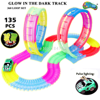 Magic Track 7.5cm outsize DIY Electric 360 Stunt Loop Flexible Assembly Glow in the Dark Car Track with Light Up Race Vehicle