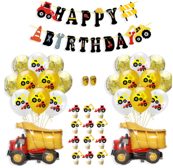Birthday Party Balloon Excavator Cake Topper Truck Latex Balloon Car Theme Baby Boy Shower Birthday Party Decoration image