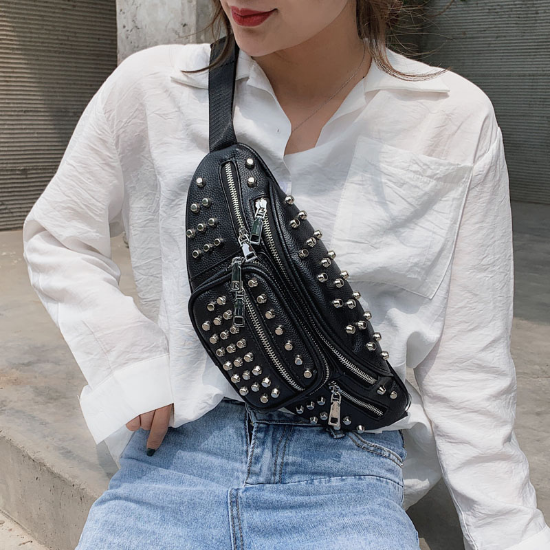 HATCYGGO Punk Rivet Fanny Pack For Women Chain Waist Belt Bag Shoulder Chest Bags Female Fashion Phone Hip Waist Pack Bum Bag