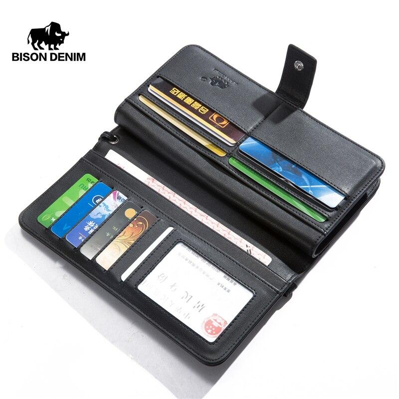 BISON DENIM Genuine Leather Wallet Long Male Business Coin Purse Zipper Pocket Luxury Brand Design Handy Clutch Wallet N8222-1