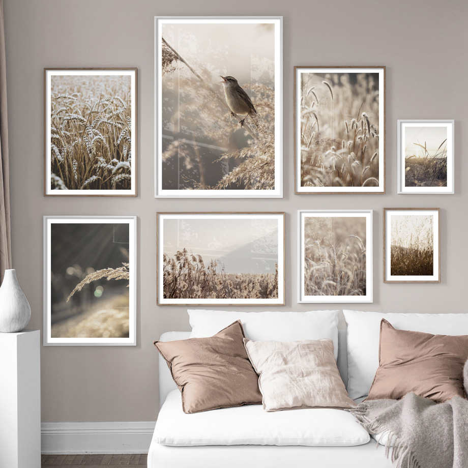 Farm Plant Bird Leaves Wheat Landscape Wall Art Canvas Painting Nordic Posters And Prints Wall Pictures For Living Room Decor