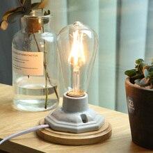 Lámpara de mesa de cerámica con Base de madera Vintage, lámpara de mesa con soporte E27, lámparas de mesa con bombilla Edison