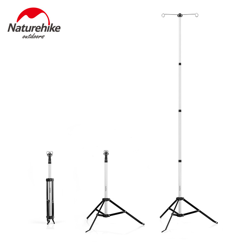 NH Naturehike Outdoor Camping Tripod Lamp Holder Aluminium Alloy Telescopic Lamp Bracket Adjustable Camp Barbecue Lighting Holde