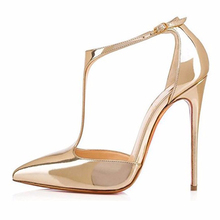 Gold Shiny Patent Leather Woman Pumps High Heel Red Sole Poited Toe Ladies Sexy Party Wedding Dress Shoes Women Pumps Wholesale недорого