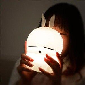 Image 2 - ماشيمارو LED ليلة ضوء اللمس الاستشعار الملونة USB الكرتون سيليكون الأرنب مصباح الأرنب أباجورة للأطفال أطفال الطفل هدية