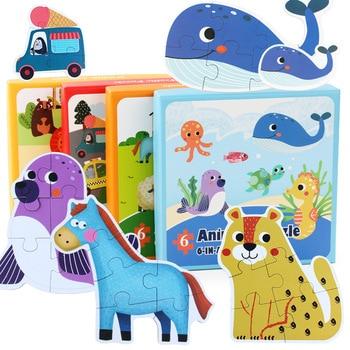 цена 6 IN 1 Jigsaw Puzzle Forest Animal Farm Board Set Colorful Baby Montessori Educational Wooden Toys Baby Kids Gifts онлайн в 2017 году