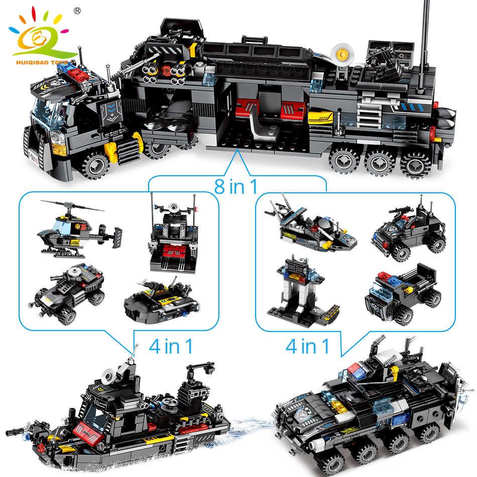 HUIQIBAO 695 Uds 8in1 SWAT Comando de la policía camión de bloques de construcción ciudad helicóptero kit de bloques de modelismo juguetes educativos para niños
