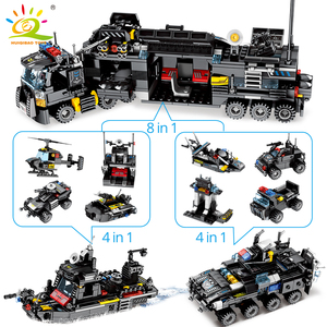 Image 3 - HUIQIBAO 695PCS 8in1 SWAT Police Command Truck Building Blocks City Helicopter Model Bricks Kit Educational Toys for Children