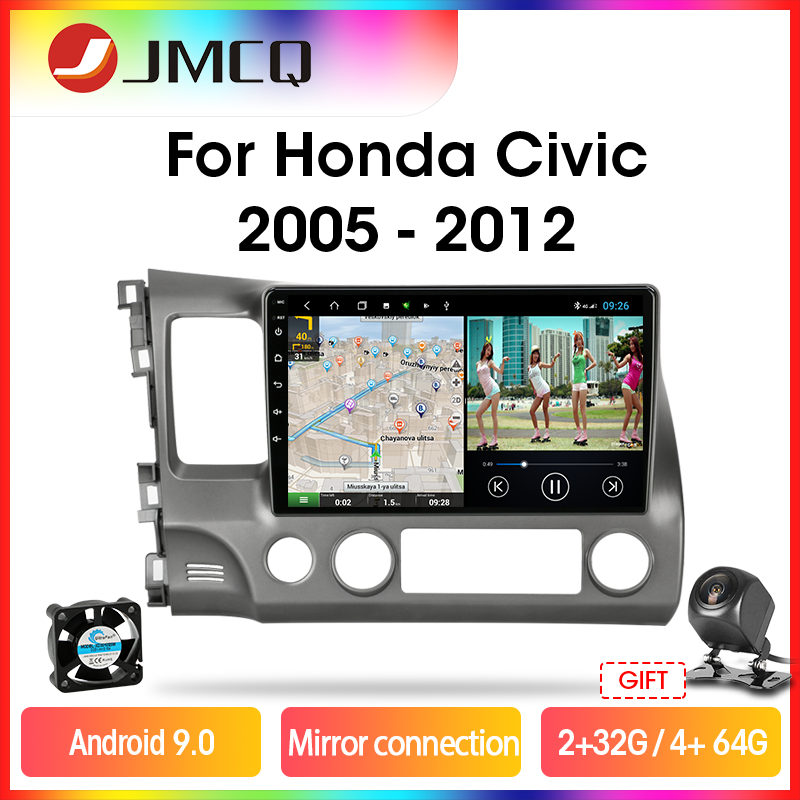 JMCQ Mirror Connection Car Radio For Honda <font><b>Civic</b></font> 2005-2012 Multimedia Video Player 2 din Android 9.0 4G+64G DSP GPS Navigation image