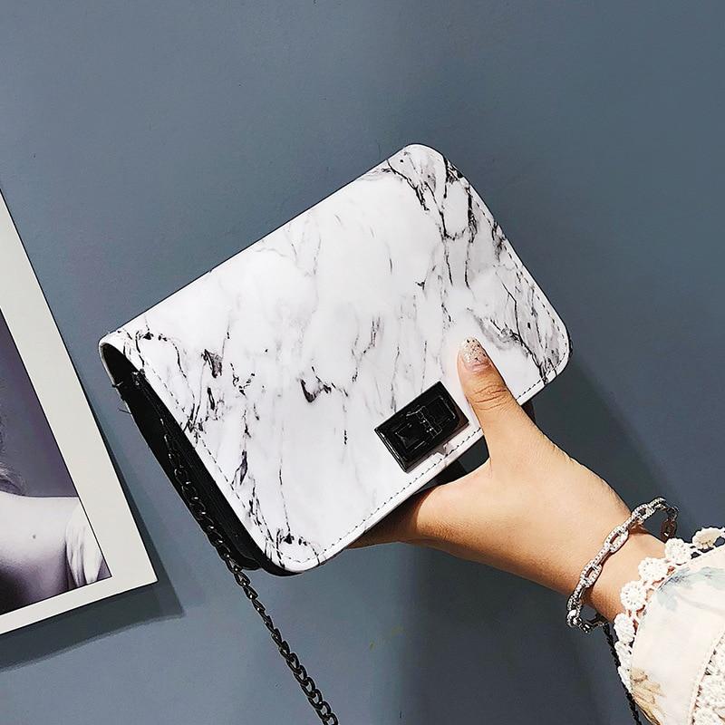 Сумки для женщин 2020 новая мраморная сумка через плечо с пряжкой и цепочкой дикая сумка-мессенджер маленькая Квадратная Белая дизайнерская ...