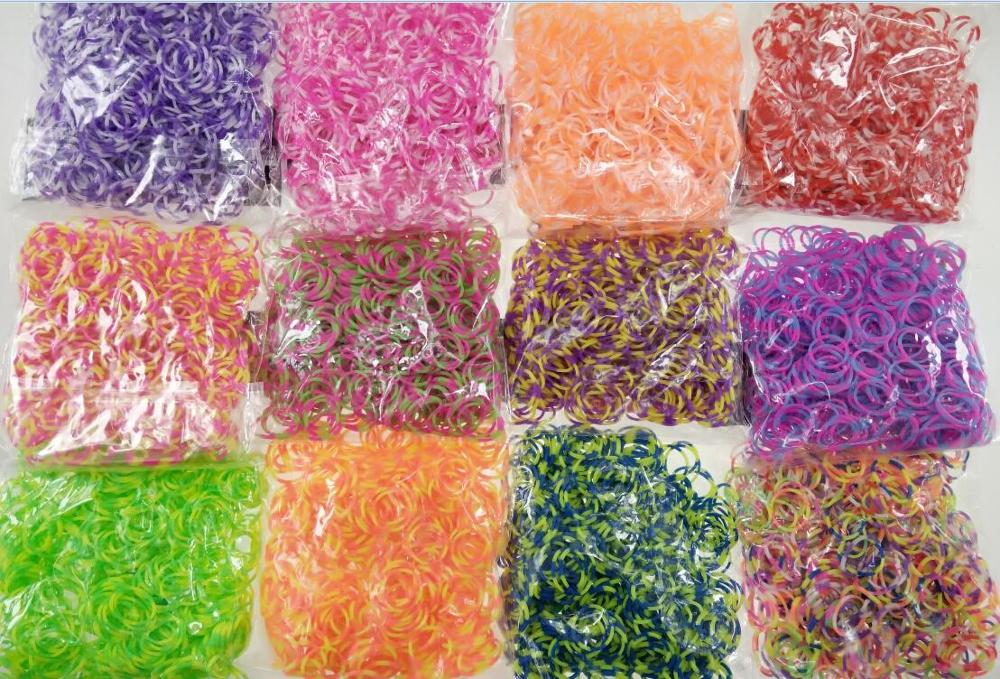 600pcs Loom Rubber Bands Bracelet Rainbow Double Color  Bands Make Woven Bracelet DIY Toys Christmas 2019 Gift  For Kids Or Hair