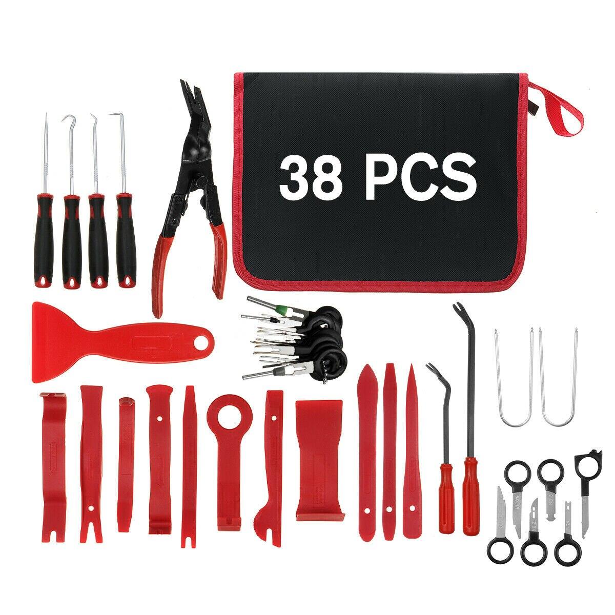 Outil de réparation Audio de voiture, 38 pièces, Clip intérieur de porte, panneau de garniture, outil de démontage intérieur automatique, outil de démontage de levier de voiture
