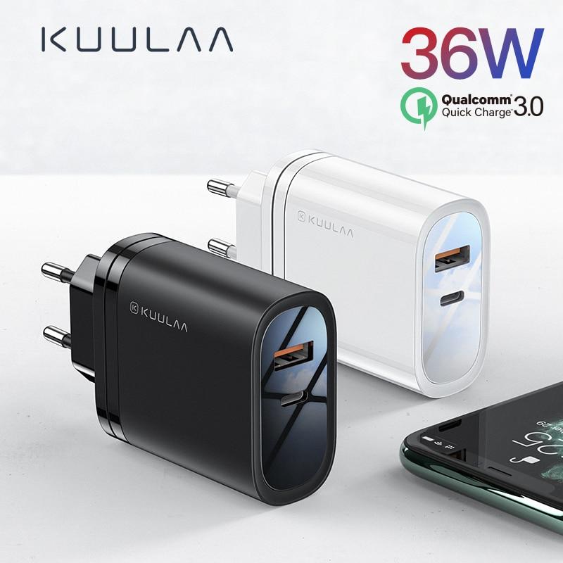 KUULAA Quick Charge 4,0 3,0 36W USB Ladegerät PD 3,0 Aufzurüsten Schnelle Lade Telefon Ladegerät Für Xiao mi mi 9 8 iPhone X XR XS Max