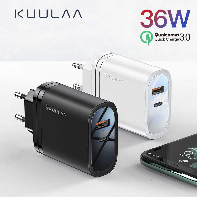 Kuulaa Pengisian Cepat 4.0 3.0 36W USB Charger PD 3.0 Keterlaluan Pengisian Cepat Charger untuk Xiao Mi Mi 9 8 iPhone X XR X Max