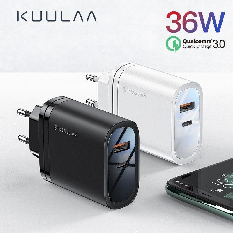 Kuulaa carga rápida 4.0 3.0 36 w usb carregador pd 3.0 supercharge carregamento rápido carregador de telefone para xiao mi 9 8 iphone x xr xs max