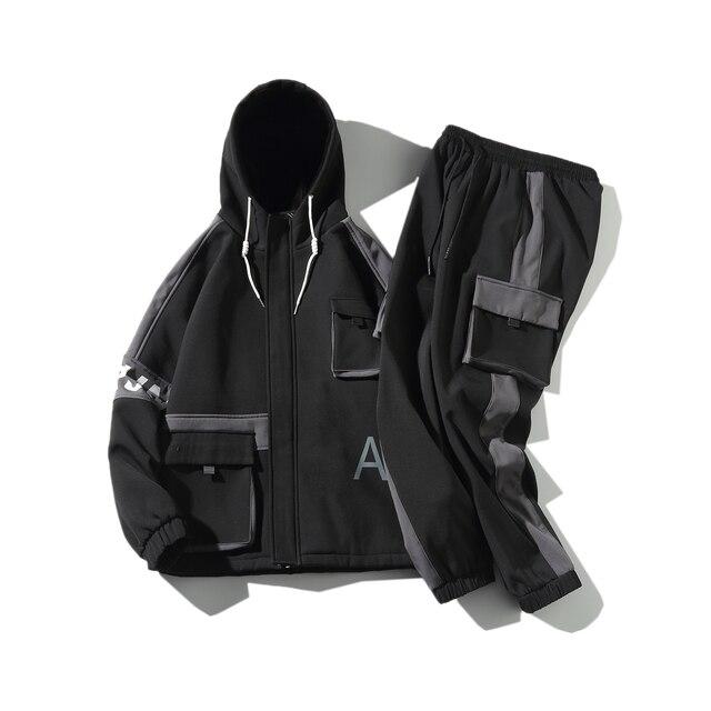 Hip-hop Suit Male Set Track Suits Sweatsuit Man Tracksuit Mens Set Pant Zipper Pockets Outwear 2PC Jacket+Pants Sets 2021 New 5