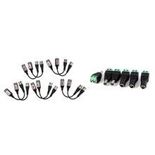 6 шт. 5,5X2,1 мм Женский+ Мужской CCTV DC разъем питания адаптер Repar часть и 10 шт. камера CCTV BNC CAT5 видео балун пассивный Транс