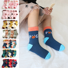 5 Pairs/lot 2019 new cartoon baby socks cotton socks mid-tube children socks autumn winter combed cotton baby boys girls socks