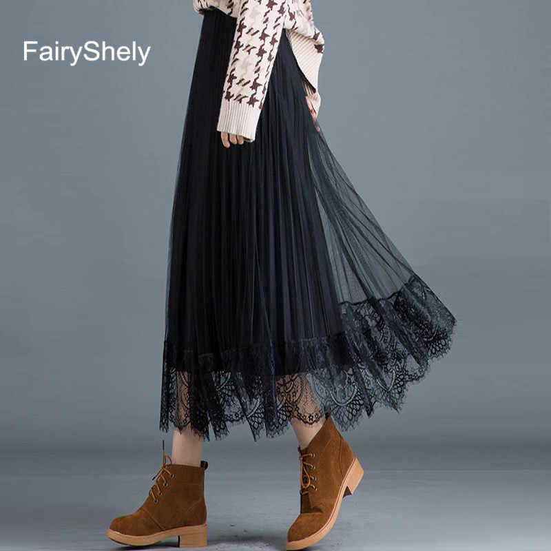 2019 eleganckie długie plisowane spódnica kobiety jesień zima gumką wysokiej talii siatki koronki ciepłe spódnica dwa zastosowania Maxi spódnica biurowa