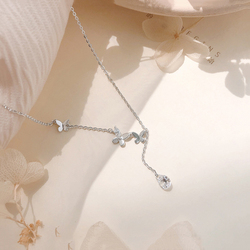 ANENJERY 925 Sterling Silver Sparkling Zircon Butterfly Long Tassel Necklace Clavicle Chain Choker Necklace For Women S-N568