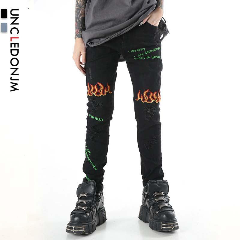 UNCLEDONJM Distressed Men Jeans Ripped Jeans For Men Embroidery Letter Skinny Jeans Ashion Funny Graffiti Hole Jeans Harajuku
