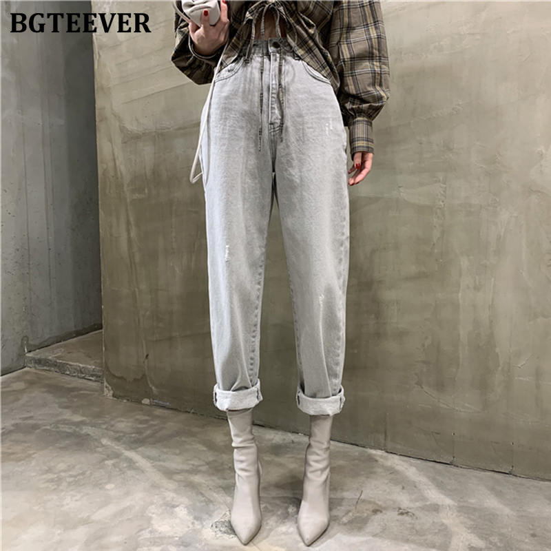 BGTEEVER Vintage Loose Women Denim Jeans High Waist Pockets Button Female Gray Denim Jeans Pants 2020 Harem Trousers Streetwear