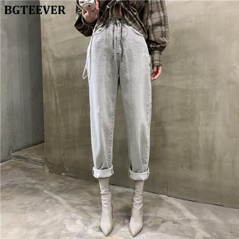 BGTEEVER Vintage Loose Women Denim Jeans High Waist Pockets Button Female Gray Denim Jeans Pants 2020 Harem Trousers Streetwear