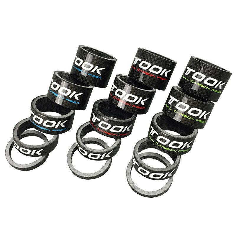 TOSEEK Carbon Fiber Bike Front Fork Washer Stem Washer Ring MTB Bike Headset Spacers 5/10/15/20/25mm Bicycle Parts