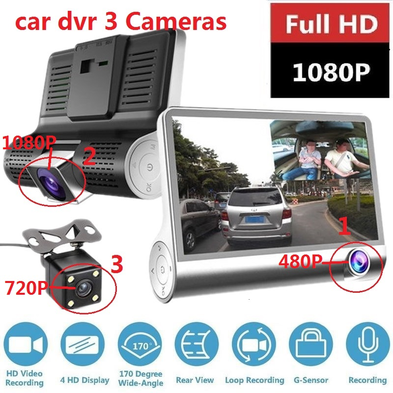 4.0 Inch Car DVR 3 Cameras Lens Dash Camera Dual Lens With Rearview Camera Video Recorder Dash Cam Auto Registrator Dvrs