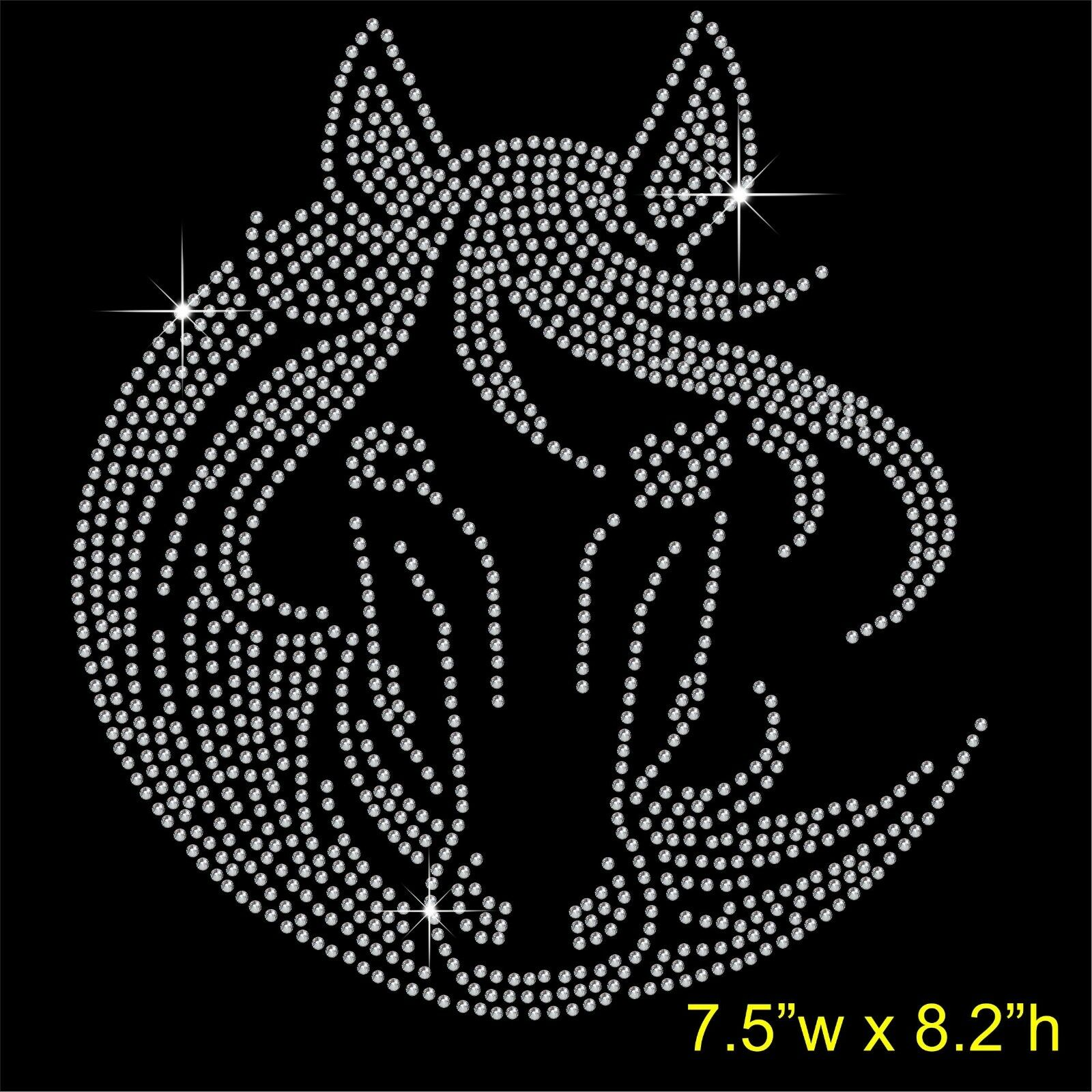 Rhinestone horse and rider hot fix transfer outline