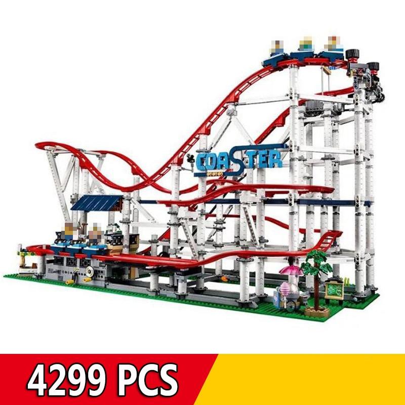 18003 4299Pcs Nostalgic Restaurant Roller Coaster City Street View MOC Series Building Blocks Compatible Legoings 10261 Toy
